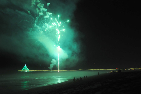 Fireworks in Manhattan Beach on Christmas